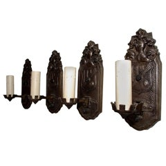 Elegant Set of Four 1920s Cast Iron Sconces