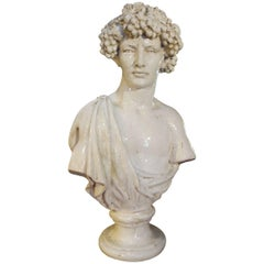 Late 19th Century Majolica Bust Sculpture of Bacchus God of Wine