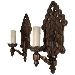 Rare Large Pair of 1920s Cast Iron Sconces