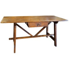 Early 19th Century Italian Tuscan Refectory Style Rustic Old Chestnut Desk Table