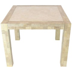 Tessellated Stone Veneer Brass Inlay Square Game Table