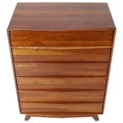 Six Drawers Solid Cherry Mid-Century Modern Design High Chest
