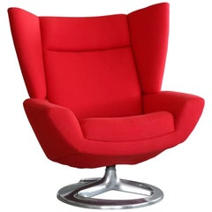 High Back Lounge Chair by H.W. Klein for Bramin, Covered in Red Tonus Four Wool