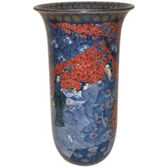 Japanese Large Porcelain Vase by Master Artist, in Blue and Red, circa 2000