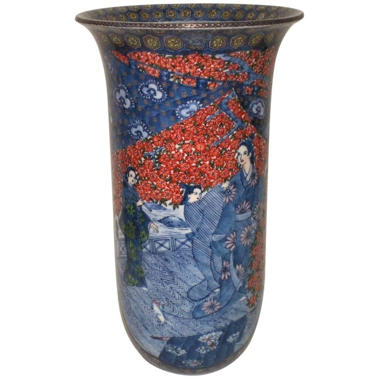 Japanese Imari Large Porcelain Vase by Murakam Genki in Blue and Red