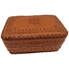 Leather Vintage Brown Box Hand Tooled in Morocco with Tribal African Designs