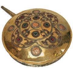 Moroccan Large Tribal Gun Powder Flask in Polished Brass