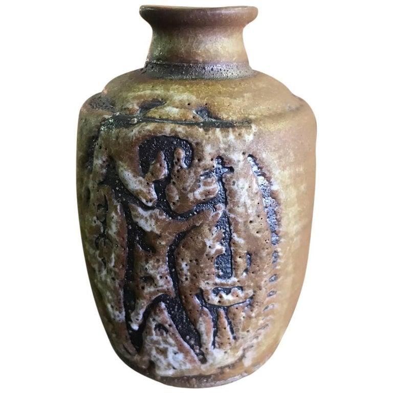 Early Rose Cabat Hand Thrown Ceramic Vase/ Vessel For Sale