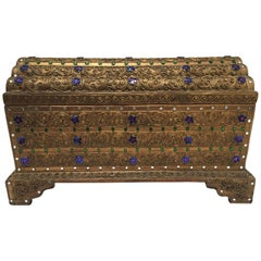 Asian Gilt Wooden Box Nicely Hand-Carved and Encrusted with Semi-Precious Stones