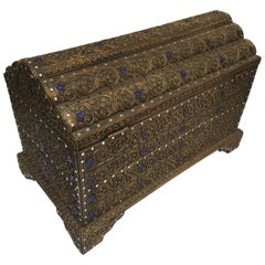 Asian Giltwood Box Hand-Carved and Encrusted with Semi-Precious Stones