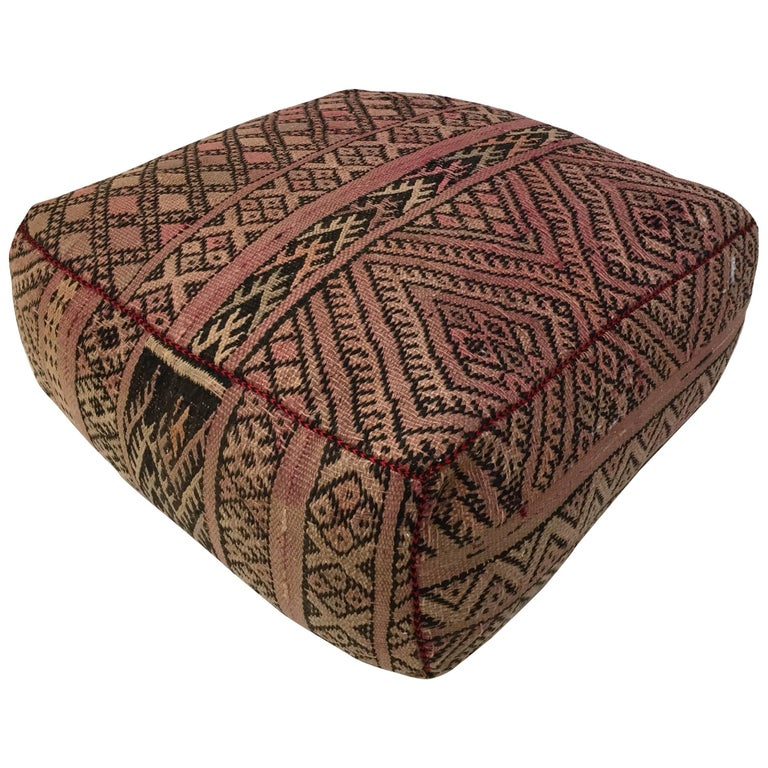 Moroccan Vintage Tribal Floor Pillow Seat Cushion Made from a Tribal Kilim Rug