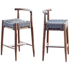Harbor Stool, Handmade Modern Walnut and Rope Seat Counter Stool with Backrest