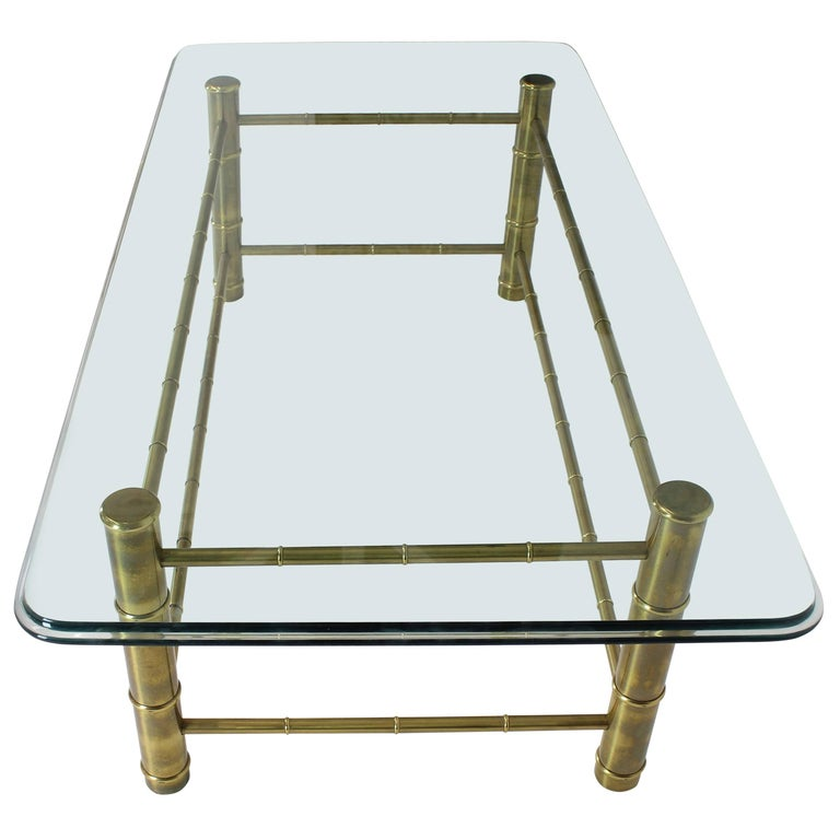 Faux Bamboo Brass and Glass Rectangular Coffee Table