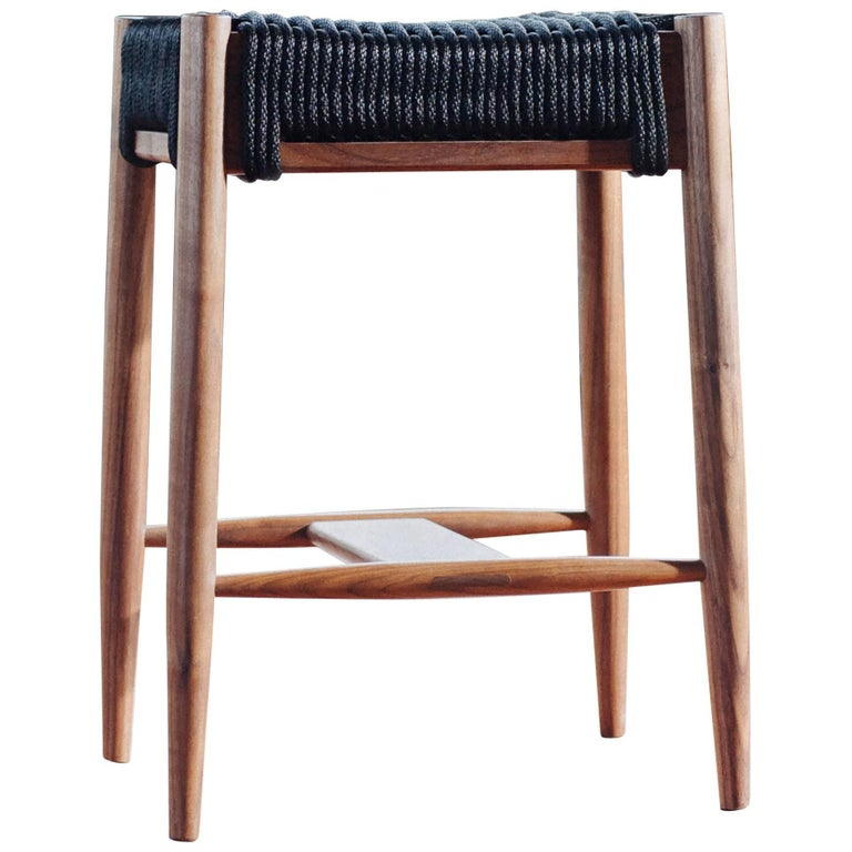 Bay Stool, Handmade Modern Walnut and Rope Woven Seat Counter Stool