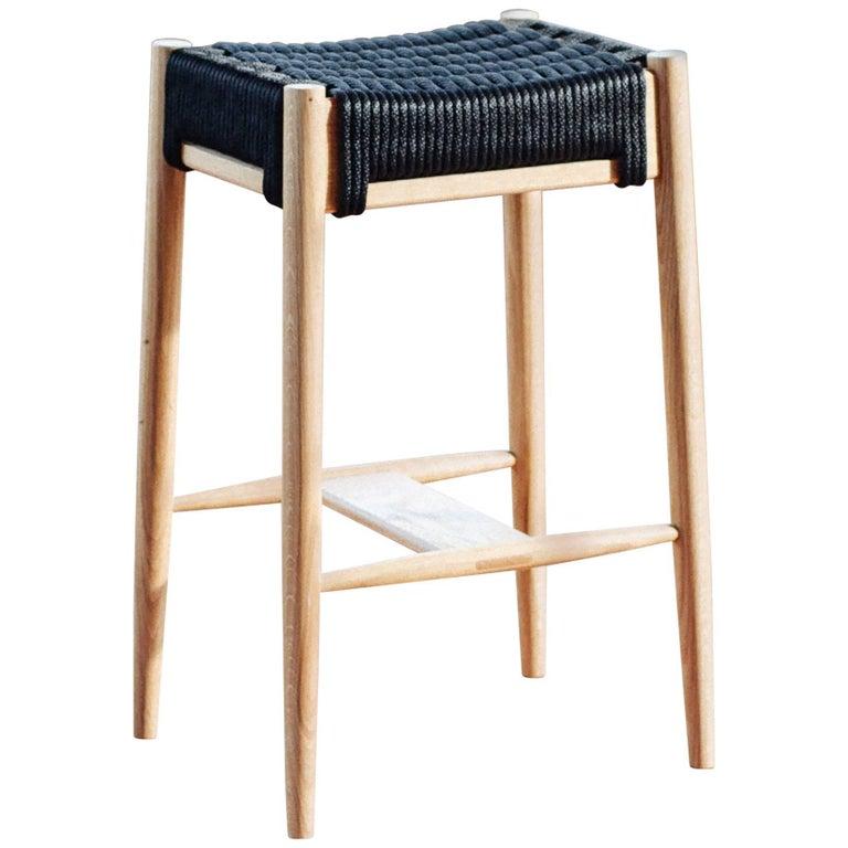 Bay Stool, Handmade Modern White Oak and Rope Woven Seat Bar Height Stool