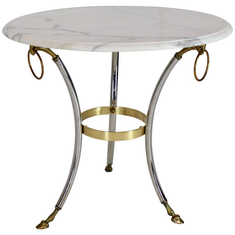 Brass Chrome Marble-Top Hoof Feet Large Rings Accents Gueridon Centre Table