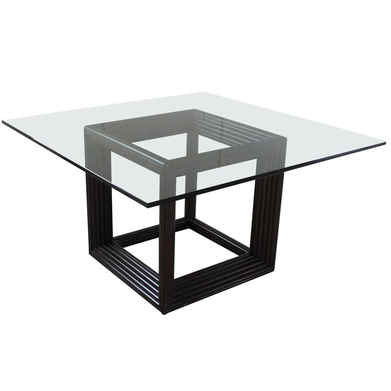 Large Square Thick Glass Top Rattan Cube Base Dining Conference Table