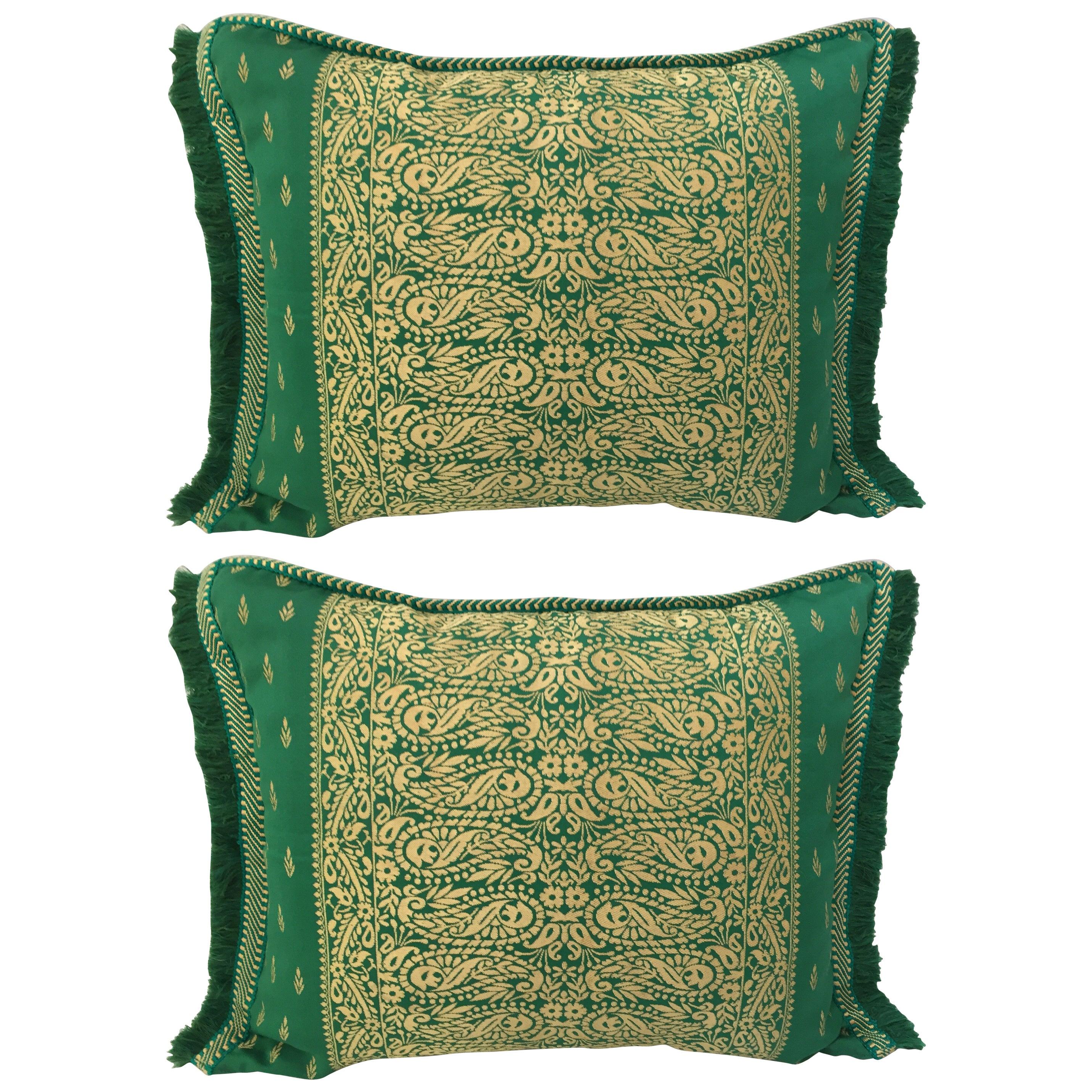 Large Pair of Moroccan Damask Green Bolster Lumbar Decorative Pillows