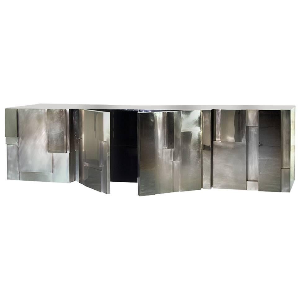 MUR, 21st Century Polished and Brushed Aluminium or Nickel Plated Sideboard