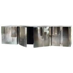 MUR Hand Polished and Brushed Nickel-Plated Brass Buffet Sideboard