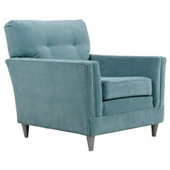 Harvey Probber Style Restored Teal Velvet Tufted Club Chair
