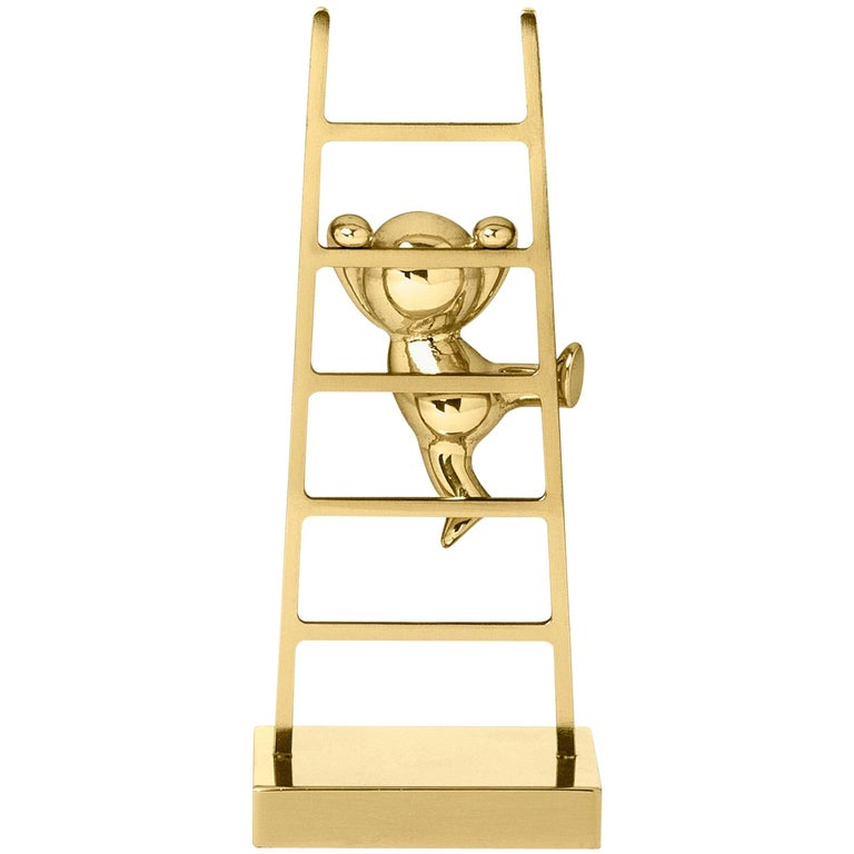 Ghidini 1961 Omini the Climber Clips Holder in Polished Brass For Sale
