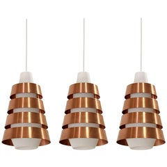 Set of Three Scandinavian Midcentury Ceiling Pendants, 1960s