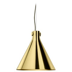 Ghidini 1961 Indi-Pendant Cone Lamp in Polished Brass