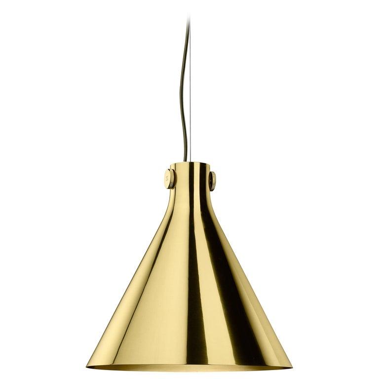 Ghidini 1961 Indi-Pendant Cone Lamp in Polished Brass