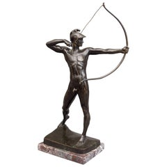 German Bronze Male Nude Figure 'The Archer' by Ernst Moritz Geyger, Berlin