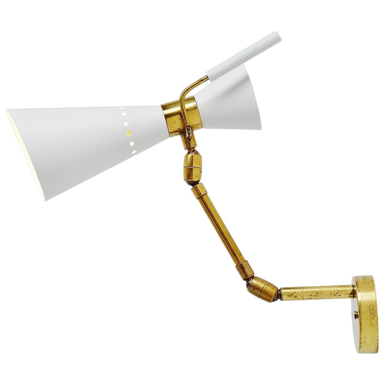 Stilnovo Attributed Diabolo Wall Lamp Adjustable Sconce, Italy, 1950