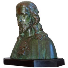 Early 1900s Patinated Terracotta or Plaster Bust of Christ on an Art Deco Base