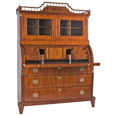 Mahogany Secretaire with Display Case Top in Empire Style