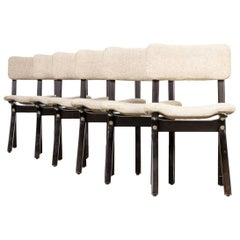 1970s Wengé Chairs Wood and Fabric Set of Six