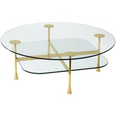 Ghidini 1961 Da Vinci Round Table in Glass and Polished Brass