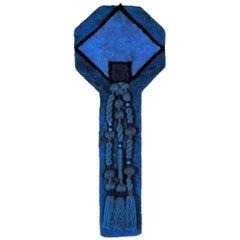 """Ewald Kroener Handwoven Tapestry Blue Wool """"LJ40"""", circa 1975, Germany"""