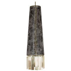 Magic Contemporary Hanging Lamp, Black Hand-Painted Gauze, Double Silvered Glass