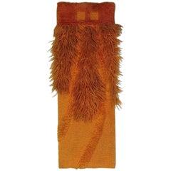 """Ewald Kroener Orange Wool Handwoven Tapestry """"LJ6"""", Germany, circa 1975"""