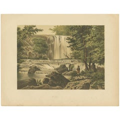 Antique Print of a Waterfall on Java by M.T.H. Perelaer, 1888