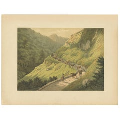 Antique Print of the Southern Mountains on Java by M.T.H. Perelaer, 1888
