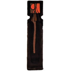 """Ewald Kroener Tapestry Wool Handwoven Brown Orange """"LJ25"""" circa 1975, Germany"""