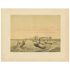 Antique Print of a Paddle Steamer by M.T.H. Perelaer, 1888