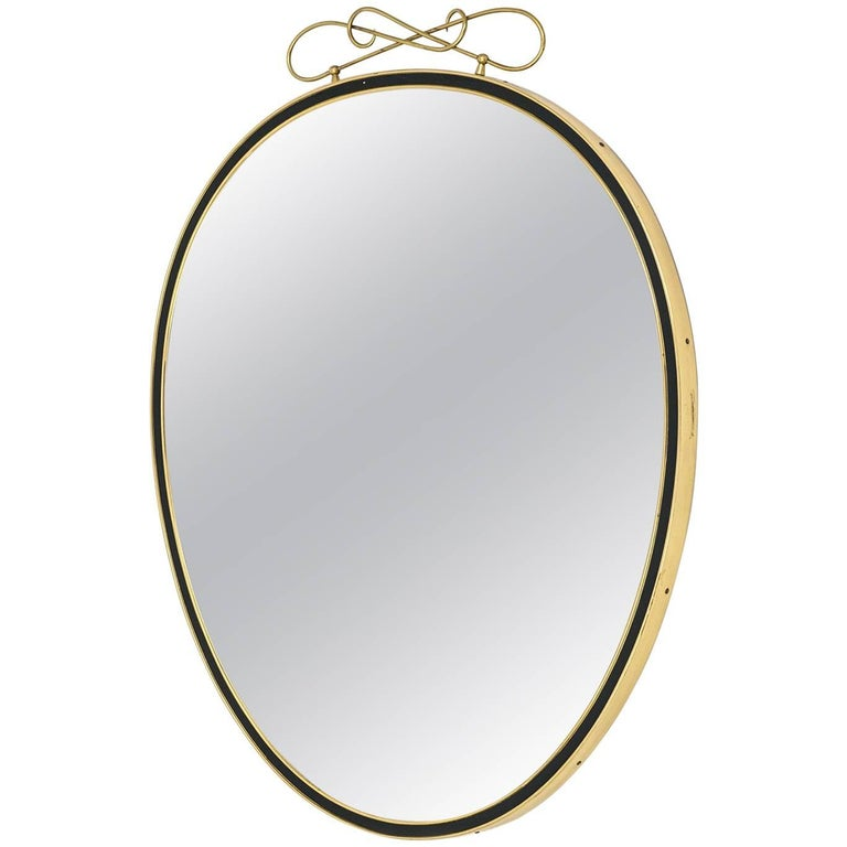 Oval Brass and Enameled Wall Mirror, 1950s