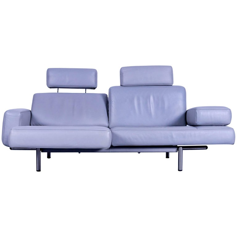 De Sede DS 460 Leather Sofa Grey Three-Seat Couch