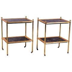 Early 20th Century Gilt Brass Étagère Incorporating Rare Panels of Marble, Pair