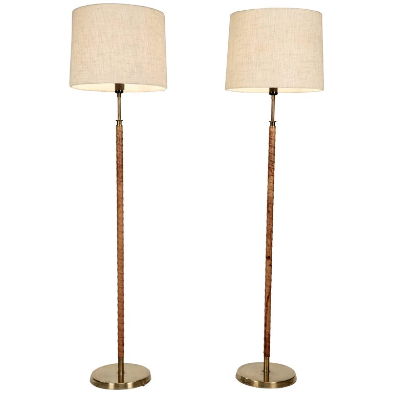 Floor Lamps, Leather and Brass, Sweden, 1940s For Sale
