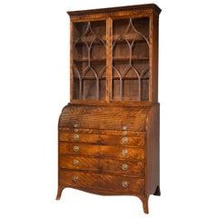 George III Period Cylinder Secretaire Bookcase