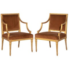 Pair of Chippendale Period Giltwood Elbow Chairs