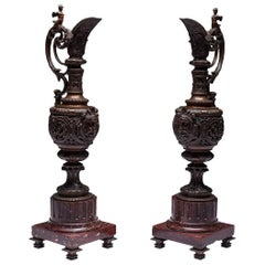 Pair of LARGE Rocaille Ewers in Bronze with Brown Patina on Red Marble Base