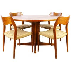 Danish Dining Room Set Model 71 Teak Papercord by Niels Otto Moller 1950 Brown